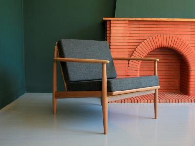Fauteuil scandinave Grete Jalk année 50 60 vintage danois maison simone nantes paris la baule