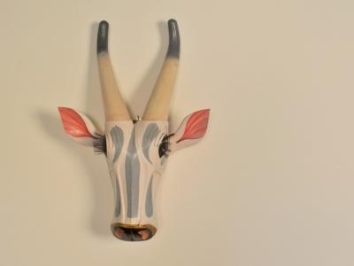 Tête vache sculptée bois indienne vintage maison simone nantes