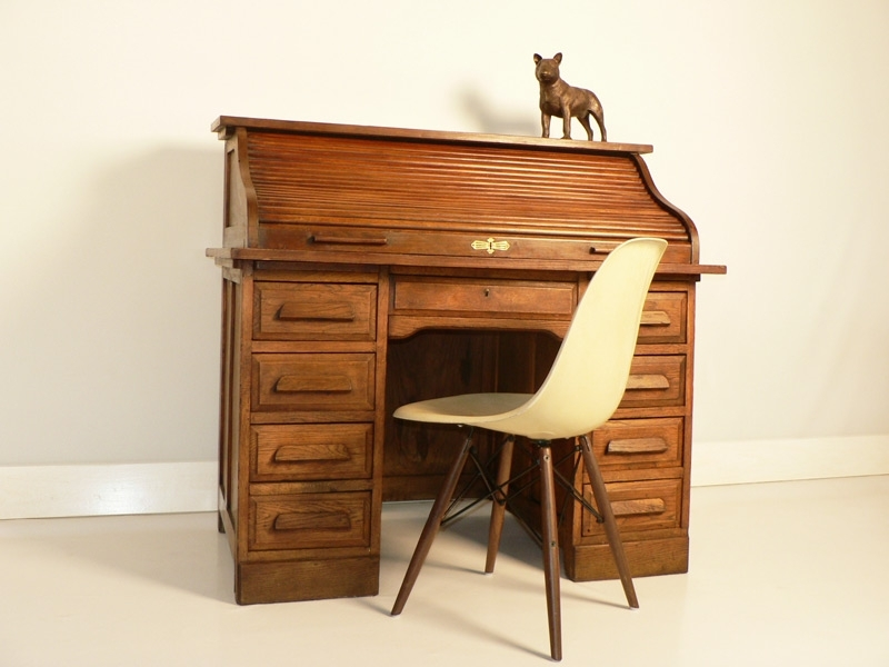 bureau americain en chene bureau a rouleau. Black Bedroom Furniture Sets. Home Design Ideas