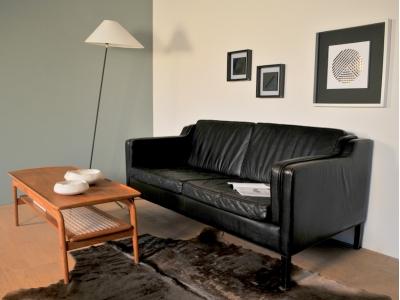 Canapé cuir noir Borge Mogensen vintage stouby maison simone nantes