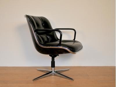 fauteuil knoll cuir noir pollock vintage maison simone nantes