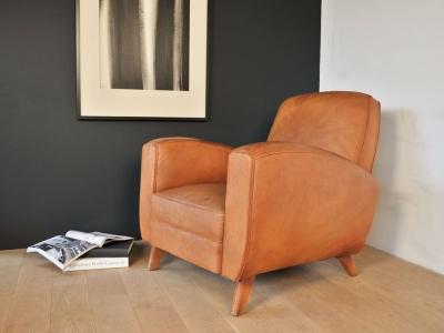 fauteuil club cuir cognac vintage maison simone nantes