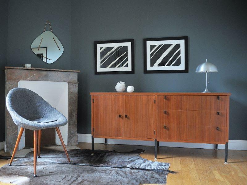 enfilade moderniste vintage teck m tal noir maison simone nantes. Black Bedroom Furniture Sets. Home Design Ideas