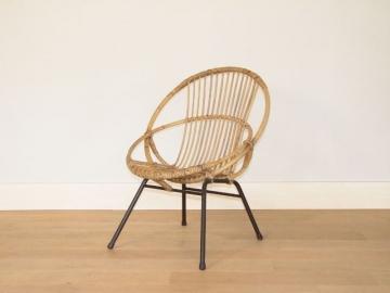fauteuil rotin pied metal