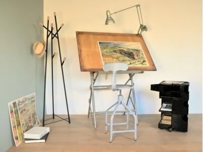 table dessin vintage unic industriel architecte maison simone nantes