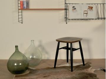 tabouret vintage scandinave design teck noir maison simone nantes