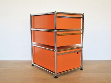 meuble USM 3 tiroirs orange