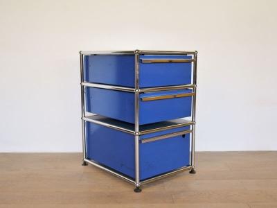 meuble USM 3 tiroirs bleu
